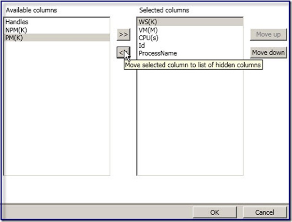Image of Selected columns dialog box