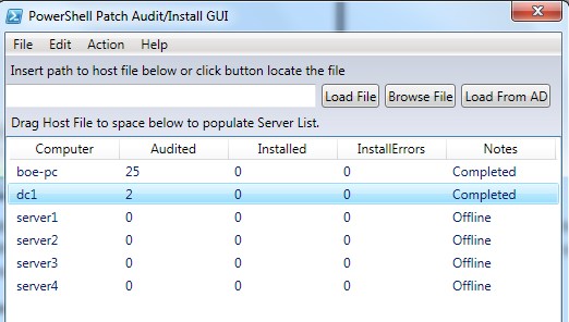 Image of Audited column sorted by systems needing most patches at top