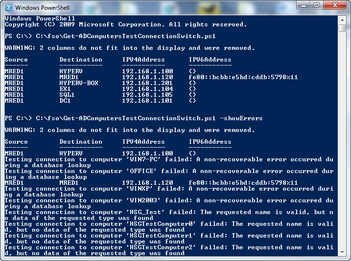 Image of command-line syntax and sample output