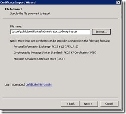 Image of selecting certificate to import