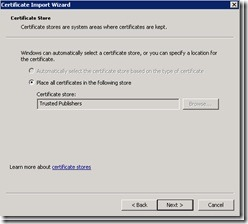 Image of placing certificate in Trusted Publishers store