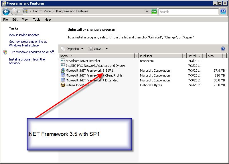 Image showing .NET Framework 3.5 SP1 is installed