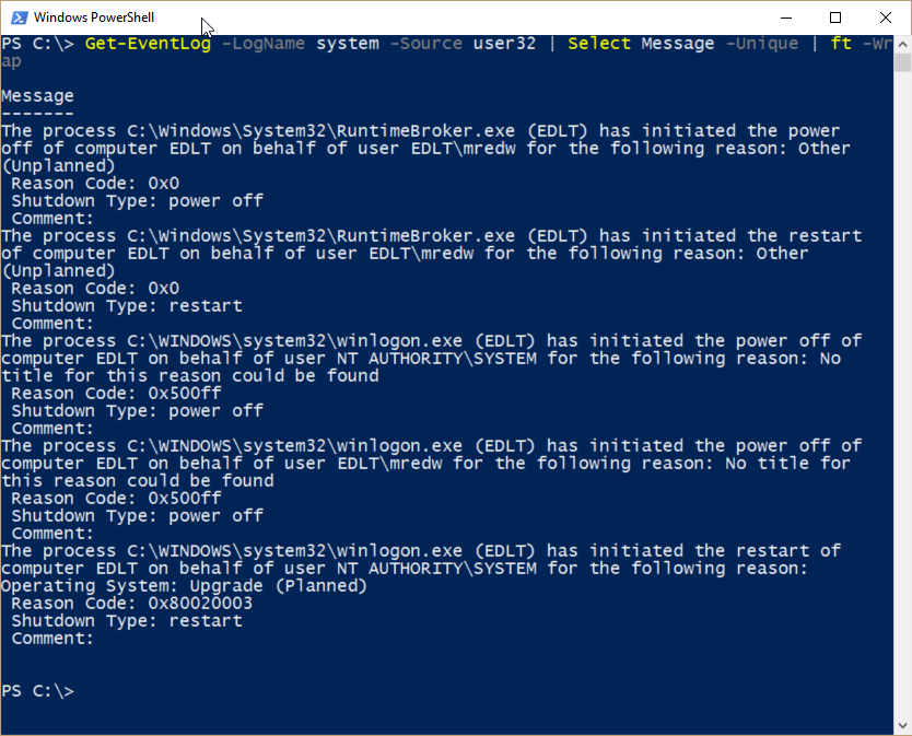 Use PowerShell to parse event log for shutdown events