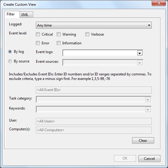Image of Create Custom View dialog box