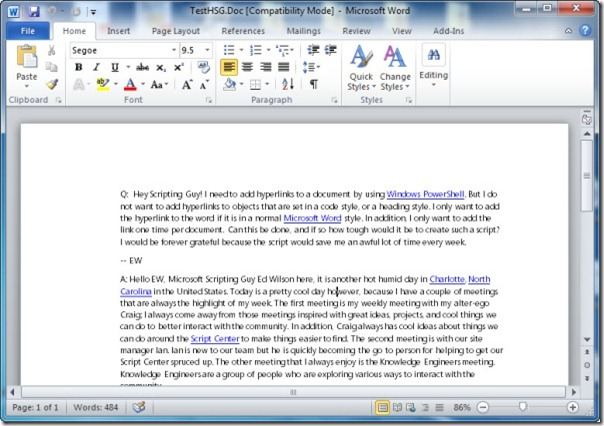 Image of document with added hyperlinks