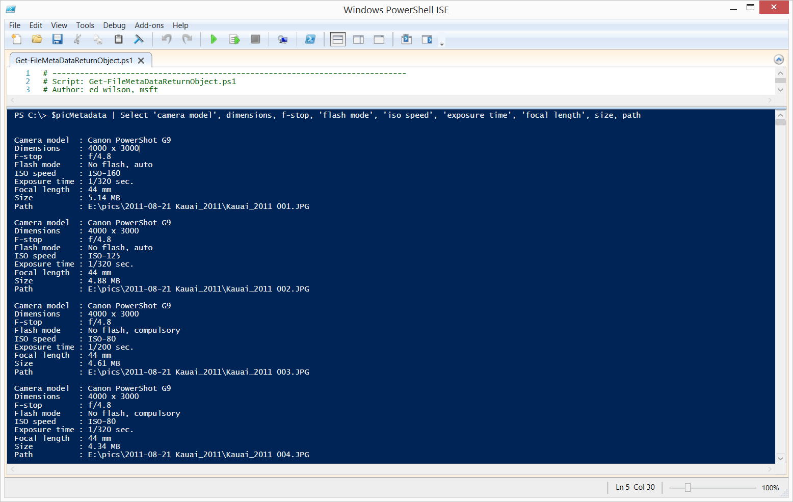 Use PowerShell to Find Metadata from Photograph Files