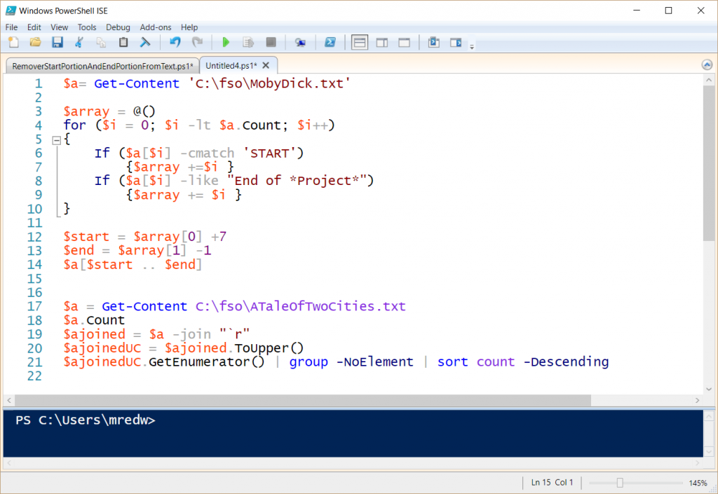 Screenshot of yesterday's code pasted before the basic letter-frequency analysis code in the Windows PowerShell ISE.