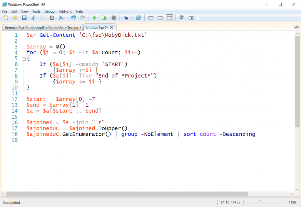 Screenshot of the entire edited script in the Windows PowerShell ISE.