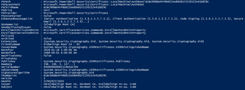 Screenshot of PowerShell