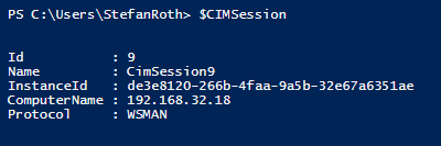 The connection in the $CIMSession object