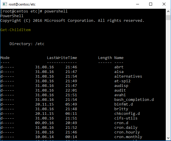 Output of the the powershell command