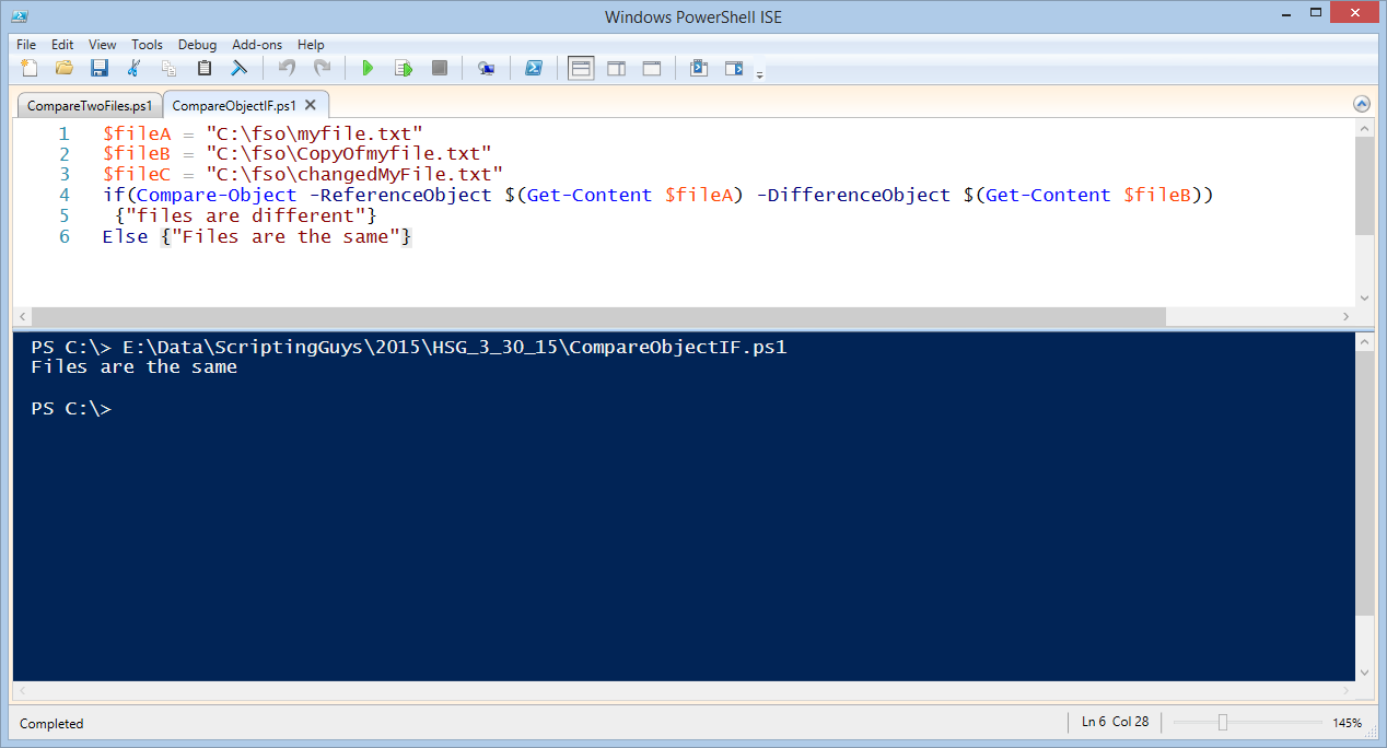 Use PowerShell to Compare Two Files | Scripting Blog