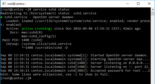 "Result of ""service sshd status"" command"