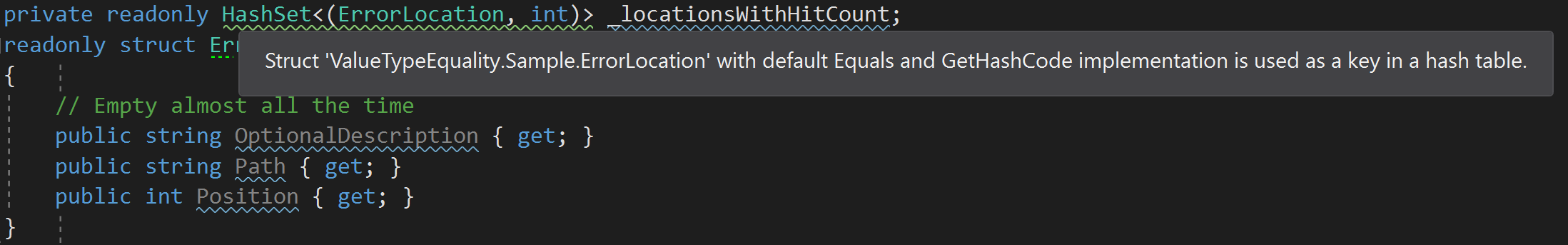 Performance implications of default struct equality in C#