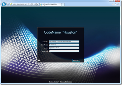 Houston codename: SQL Azure Web/RIA Management Studio