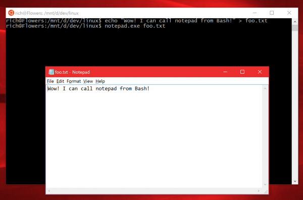 Open Notepad from Bash