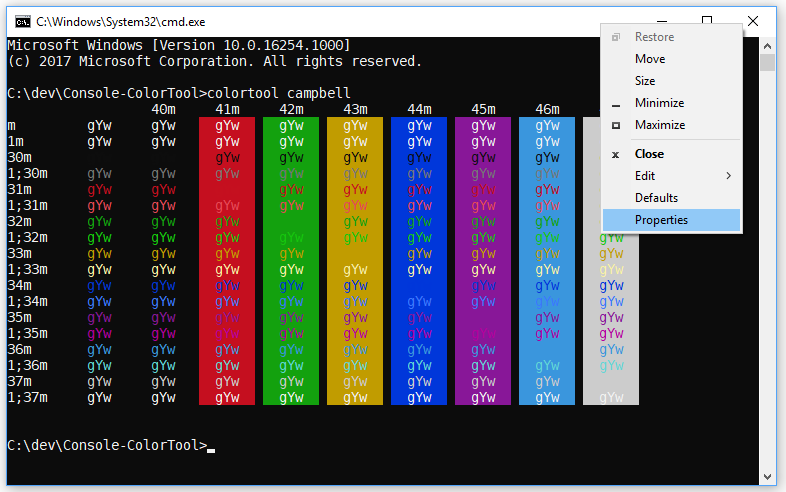 Introducing the Windows Console Colortool | Windows Command Line