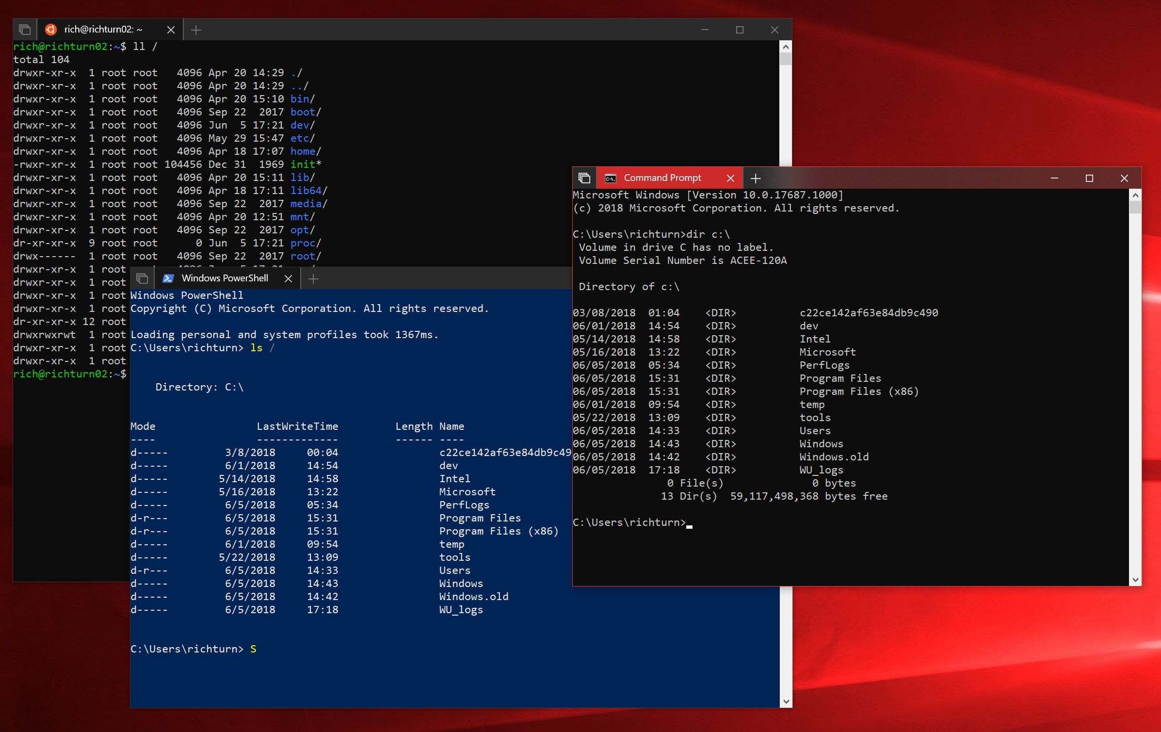 Cmd, PowerShell, and Ubuntu Linux on WSL running attached to independent Console instances