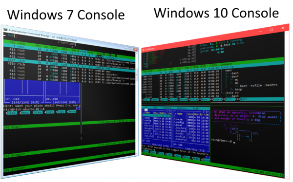 Comparing Console in Windows 7 and Windows 10