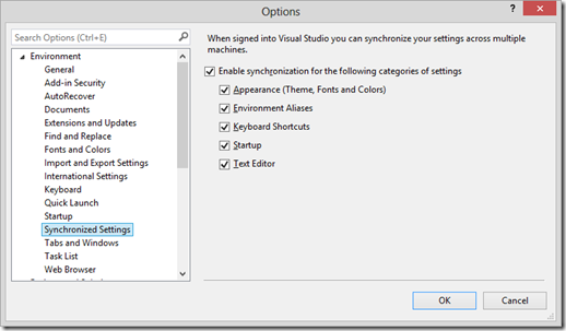 Synchronized Settings options page