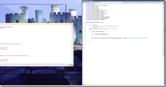 Screenshot of two windows side by side