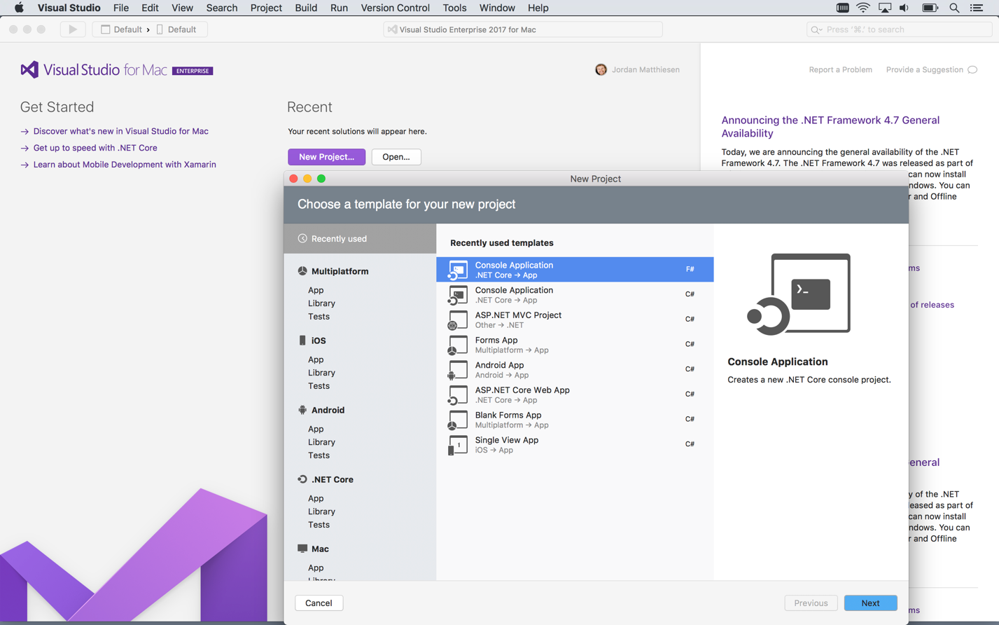 Get Started with Visual Studio for Mac