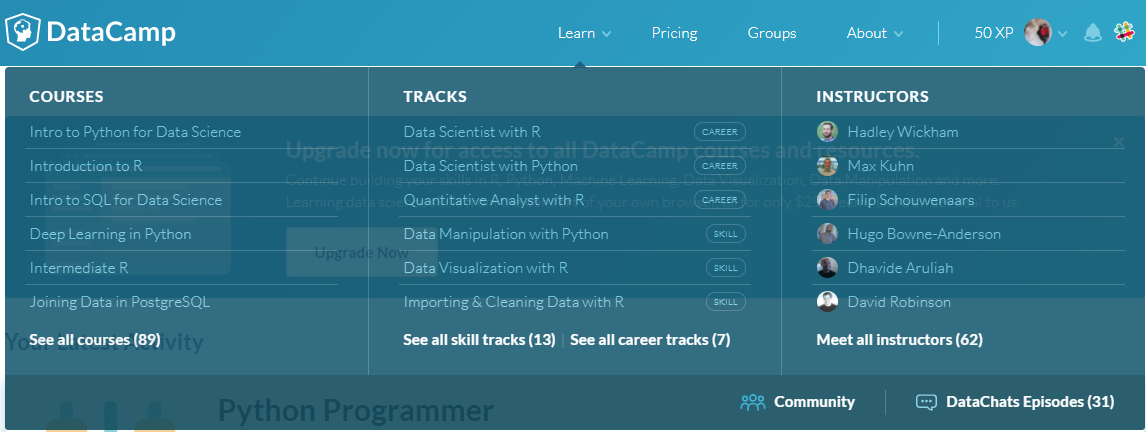 DataCamp Course and Track Listing