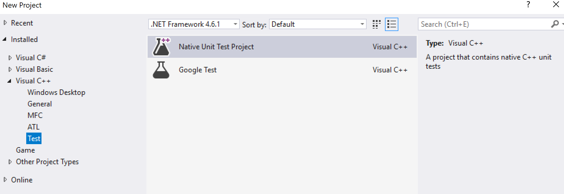 Microsoft Native Test or Google Test project template in the New Project Wizard