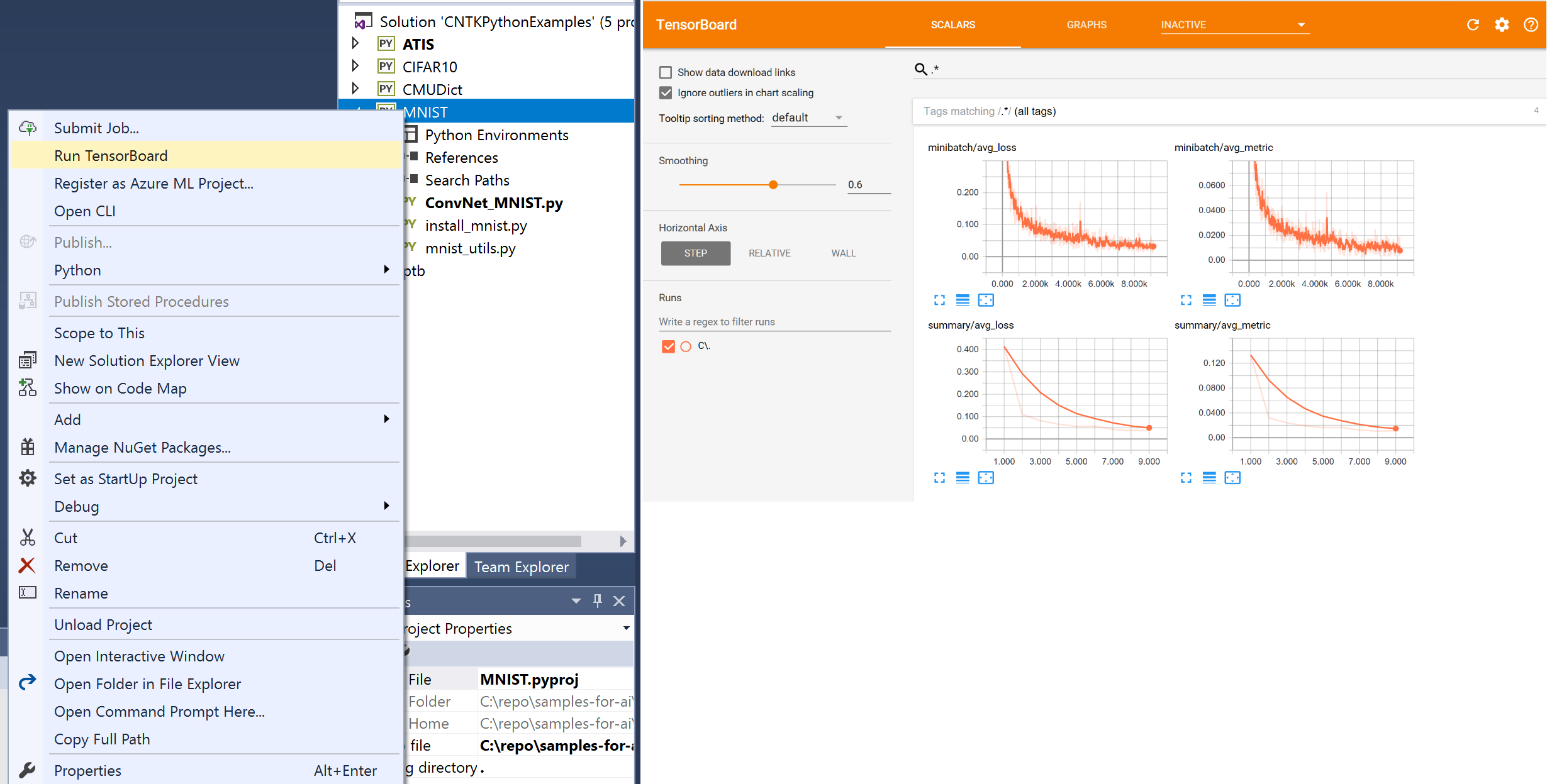 Visual Studio Tools for AI Run TensorBoard and view Graphs