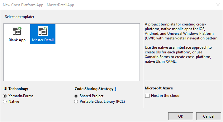 Shows a File -> New Project for a mobile app in Visual Studio.
