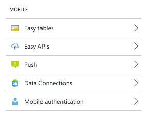 Easy tables section within Settings blade.