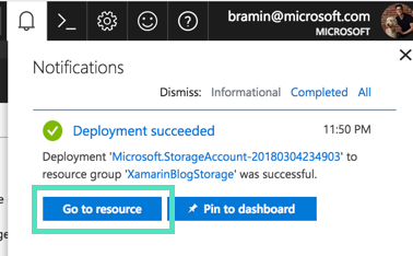 Navigate to Azure Blob Storage Resource