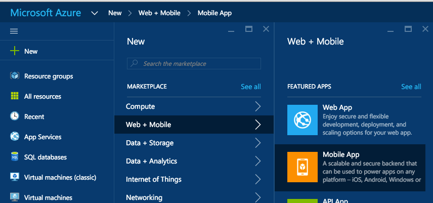 Creating a new Mobile app in the Microsoft Azure portal.