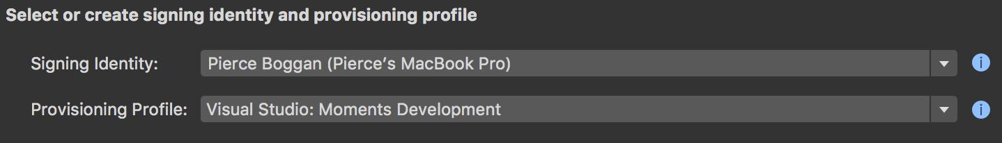 iOS app provisioning in Visual Studio for Mac.