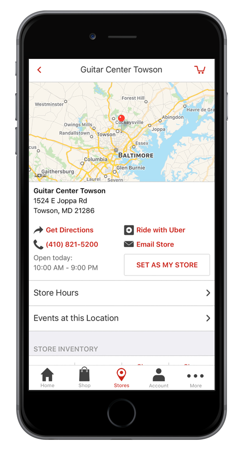 Guitar Center app on iPhone