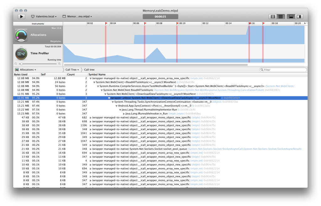Profiler in Xamarin Studio on Mac