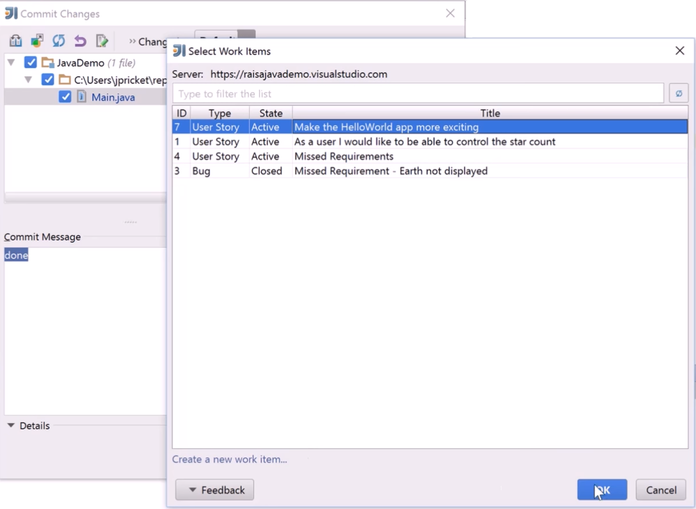 Work Item Integration for IntelliJ and Android Studio