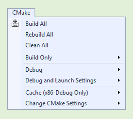 Visual Studio 2017 15.2 Update CMake Menu