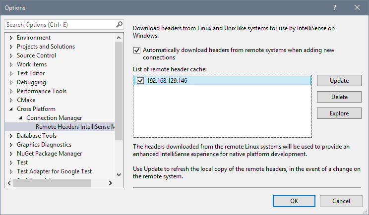 Remote Headers IntelliSense Manager tools option window