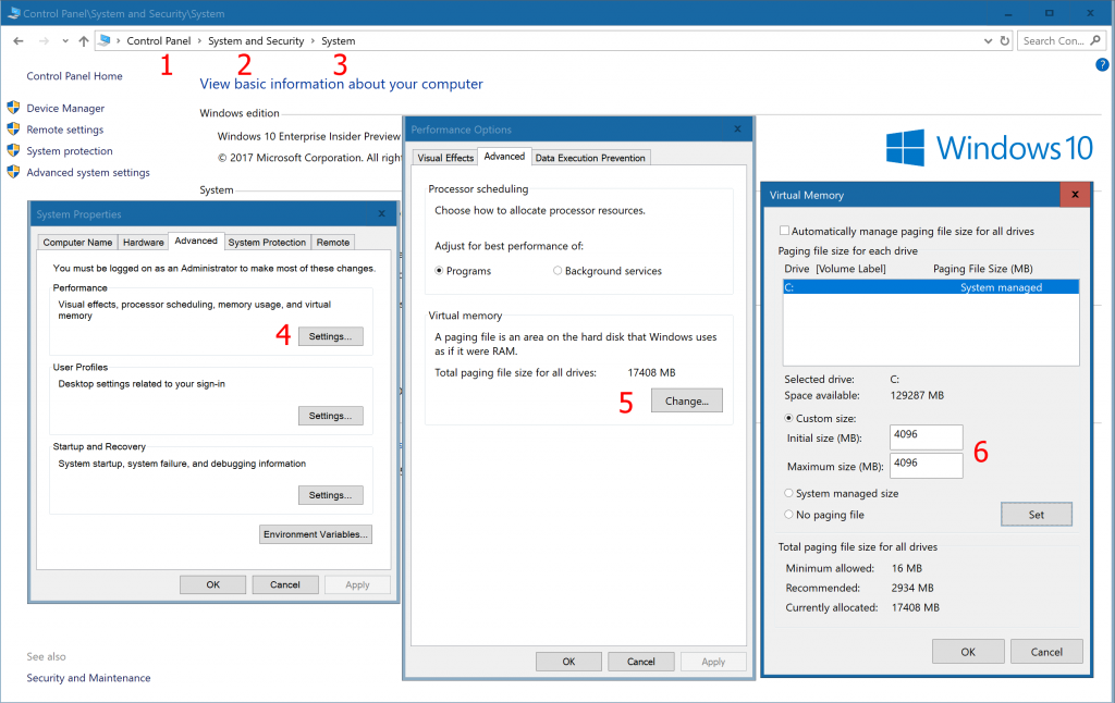 Windows settings for Virtual Memory