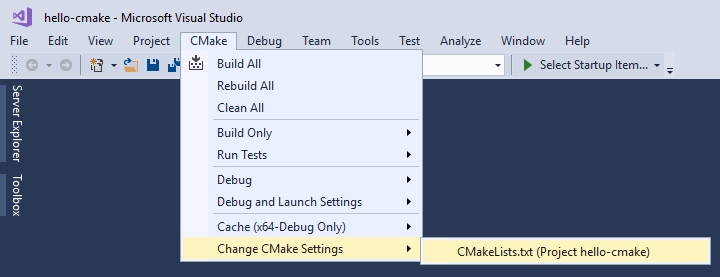CMake Change CMake Settings Main Menu