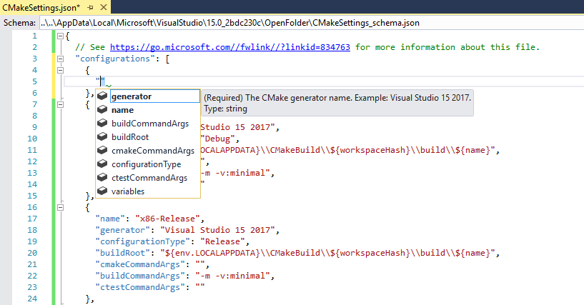CMake Settings IntelliSense