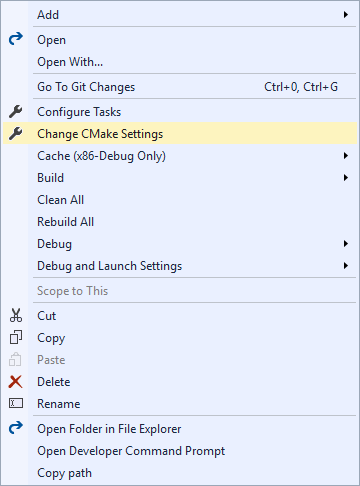 Edit CMake Settings
