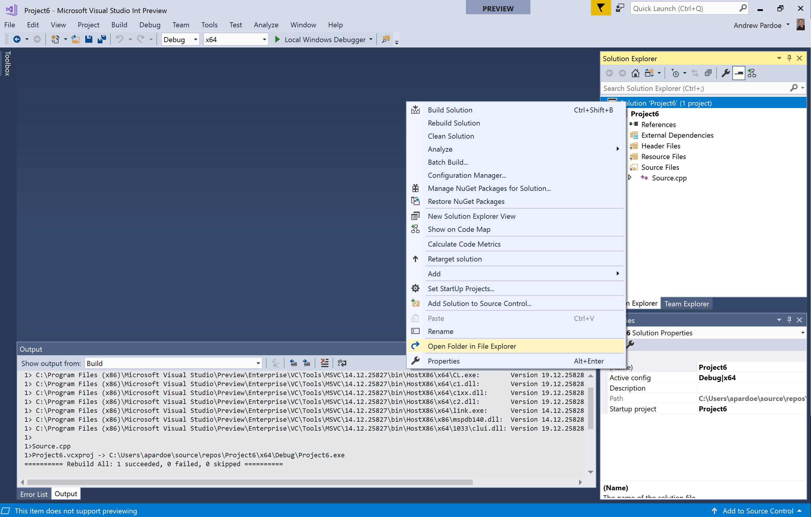 Open Folder from Solution Explorer