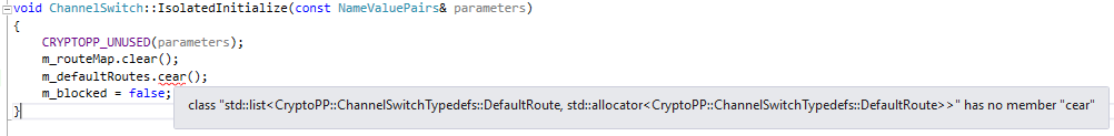 Quick Info tooltip displaying an error in Visual Studio