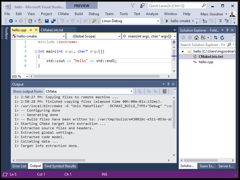 Visual C++ for Linux Development with CMake | C++ Team Blog