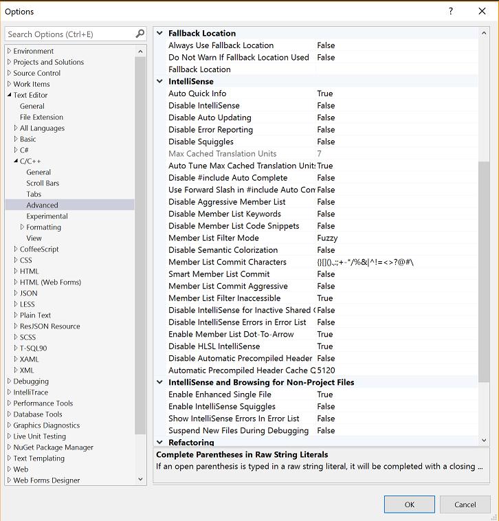 IntelliSense Advanced Settings
