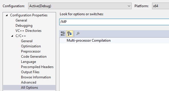 cl.exe compiler switches