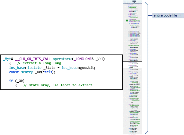 Using Scroll Bar Map Mode to view your code file at a glance