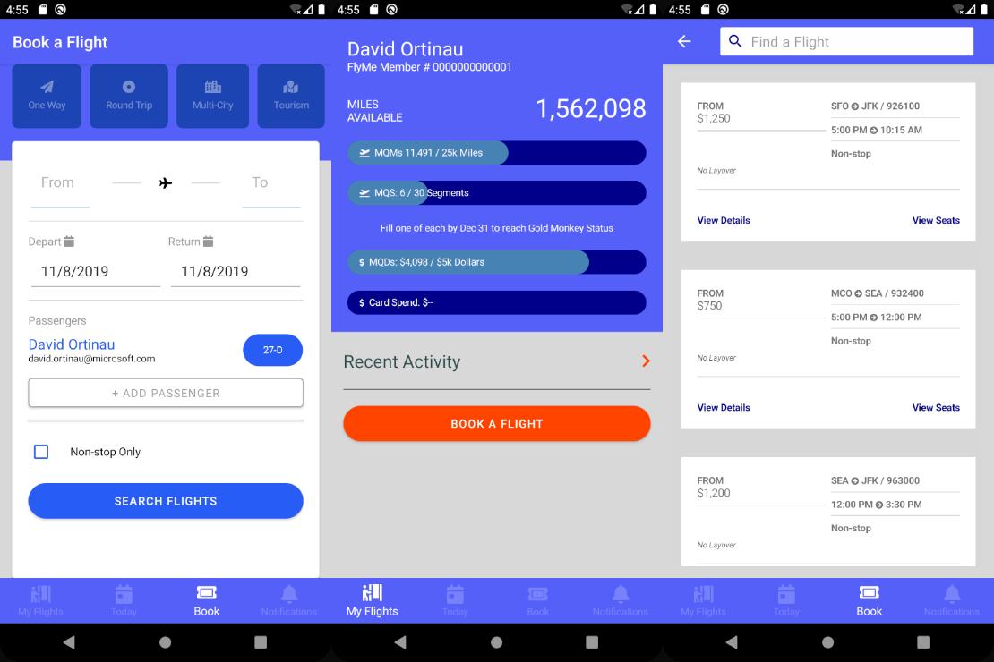 FlyMe Xamarin.Forms App